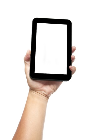 tablet pc in hand: Hand holding tablet pc  or smart phone  isolated on white