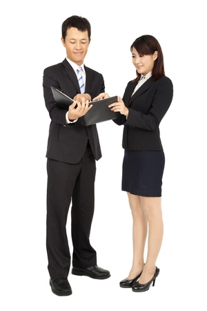 Young business woman and business man photo