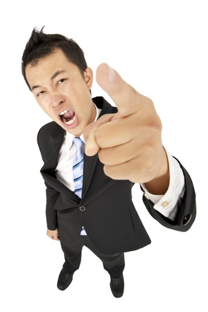 complain: excited businessman pointing you and shouting