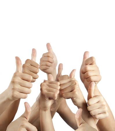 many different hands with thumbs up isolated on white photo