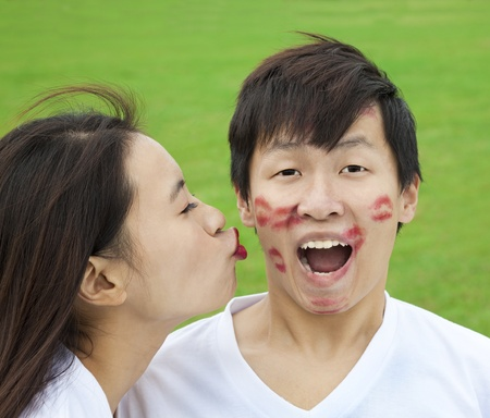 asian couple with kissing photo