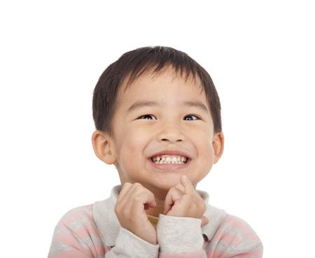 Opgewonden gezicht van Aziatische jongen