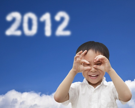 hand of happy kid make telescope shape  and watching the cloud 2012 Stock Photo - 11568021