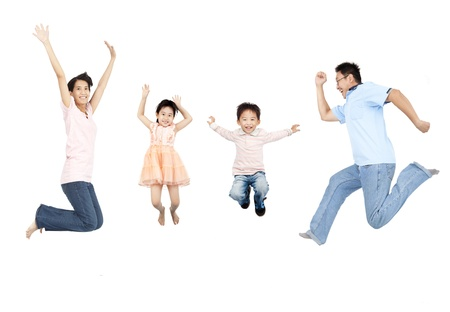 happy asian family jumping together photo