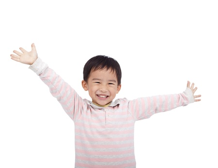 raise hand: happy asian boy raising hand