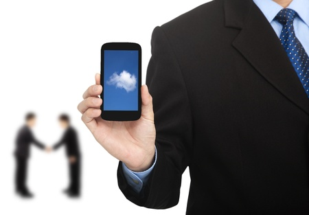 cloud computing on the smart phone and successful business Stock Photo