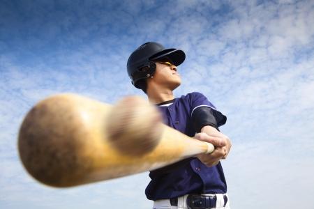 chauve souris: joueur de baseball frapper Banque d'images