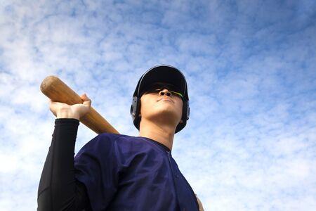 baseball player: young baseball player with bat Stock Photo