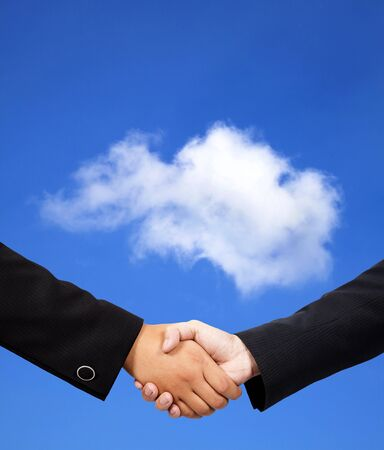 business handshake with cloud computing concept photo