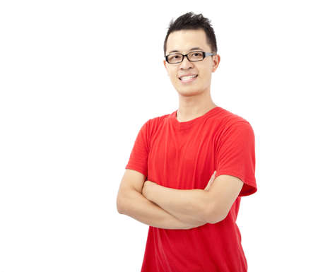 smart asian young man with red t-shirt photo
