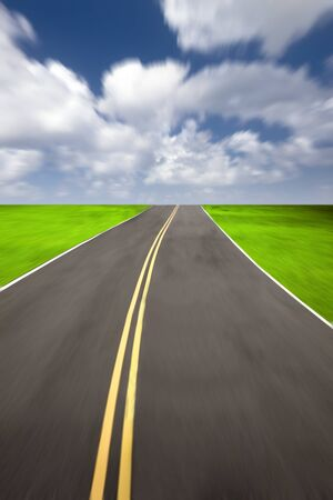 speed road with cloudy background photo