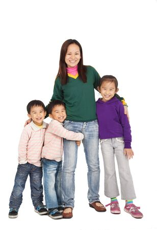 Happy Asian Mother with her family Stock Photo - 12181492