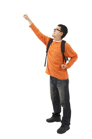 excited man: Portrait of an excited young man with hand raised  Stock Photo