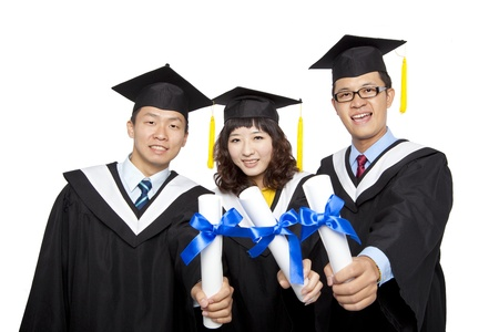 graduation students isolated on white background