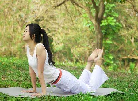 yoga young woman on park Stock Photo - 12362068