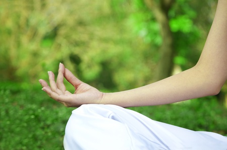 Closeup of woman hands in yoga pose photo