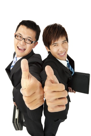 happy  asian   businessman with thumbs up photo