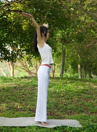 yoga girl on the park Stock Photo - 12362148