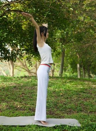 yoga girl on the park photo