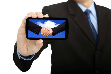 cloud computing and success business in smart phone photo