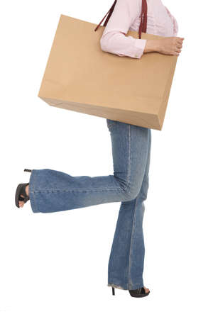 heeled: young woman with shopping bag
