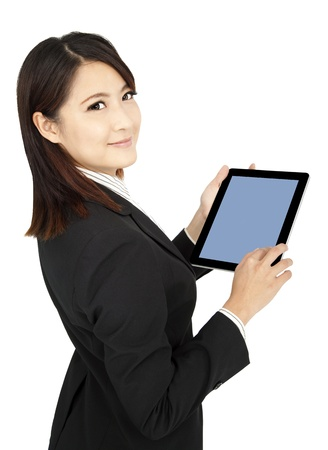 smiling  businesswoman holding tablet  computer and isolated on white photo