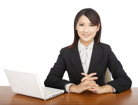 asian businesswoman with laptop photo