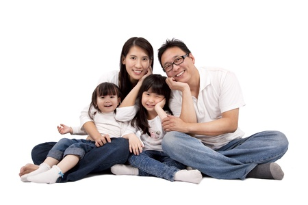 asian family isolated on white photo