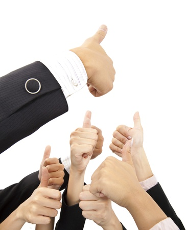 hand of business group with thumbs up photo