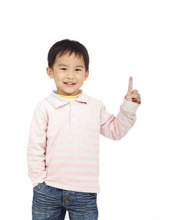 gelukkig kind wijst de ruimte