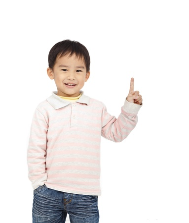 happy kid pointing space