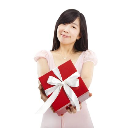 smiling asian young woman holding gift box Stock Photo - 13116933
