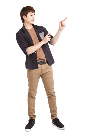 Asian young man pointing something Stock Photo