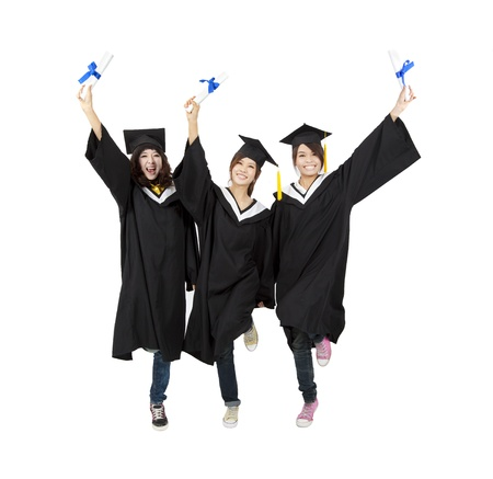 three happy asian graduation student isolated on white photo
