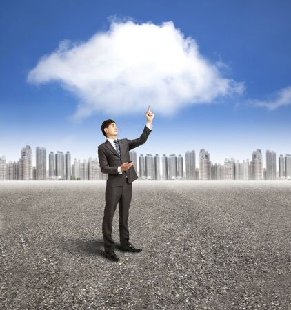 businessman using mobile phone with cloud computing and application concept photo