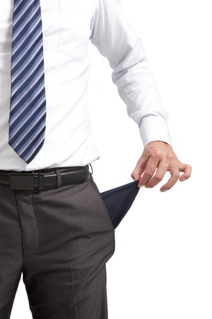 empty pocket: businessman pulling out  empty pocket