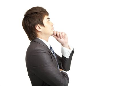 young businessman with thinking photo