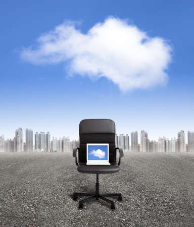 computer on the office chair and business cloud computing concept photo