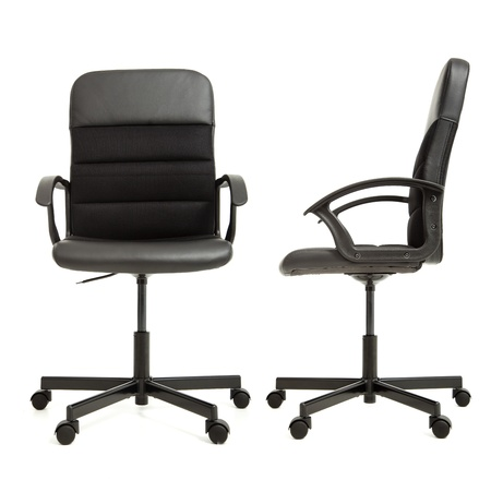 front side: office chair on the white background front and side view Stock Photo