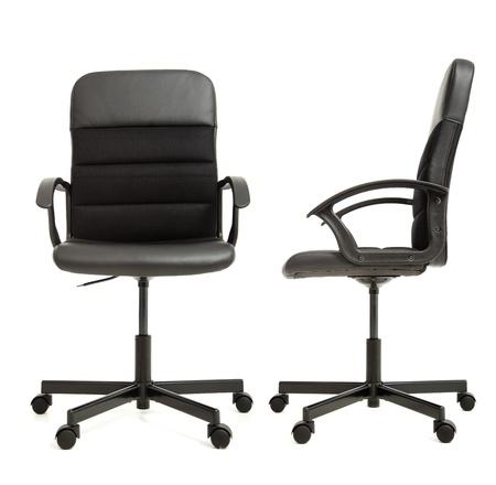 silla: silla de oficina en el frente de fondo blanco y la vista lateral