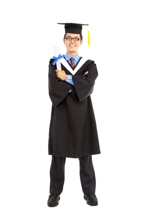 Full length of   happy graduating student photo
