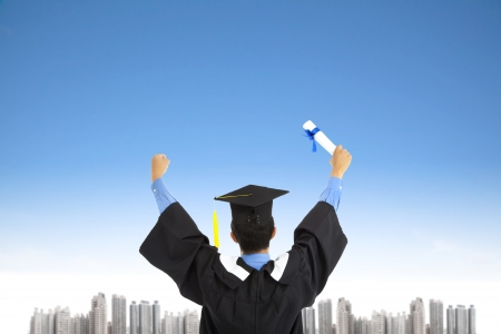 successful graduating student with sky background Stock Photo - 14018752