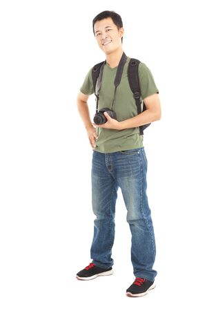 eye traveller: Full length of  asian young man with camera