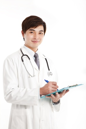 Smiling asian medical doctor with clipboard  photo