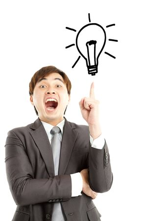 I got the idea  businessman with bulb and idea concept photo
