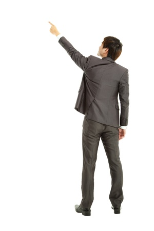rear view businessman finger pointing  photo