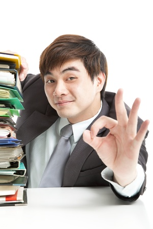 smart businessman with ok gesture in the office Stock Photo - 14234968