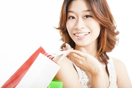happy asian woman with shopping bag photo