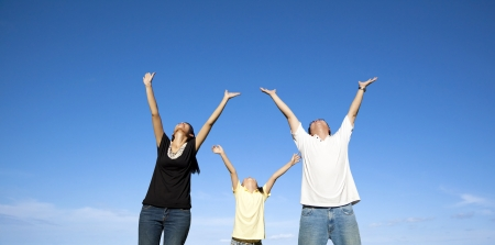 happy asian family with blue sky Stock Photo - 14305027