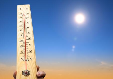 Hand Holding Thermometer und Wärme Wetter